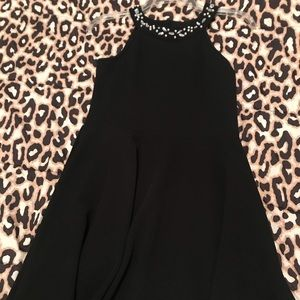 Black tank dress with crystal accents